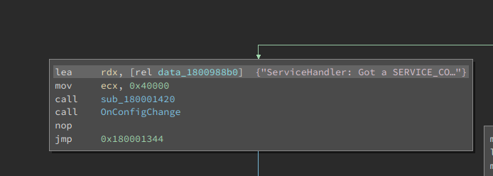 String with the words ServiceHandler and SERVICE_CONTROL_PARAMCHANGE