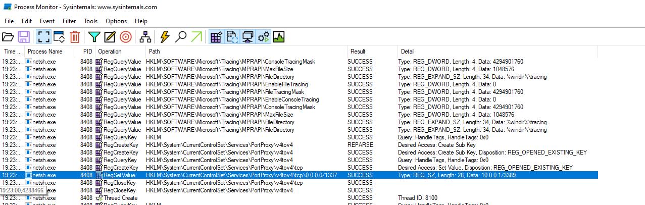 Netsh setting a registry value