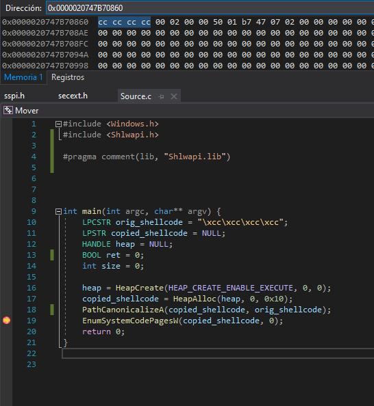 Shellcode copied to RWX buffer using PathCanonicalizeA