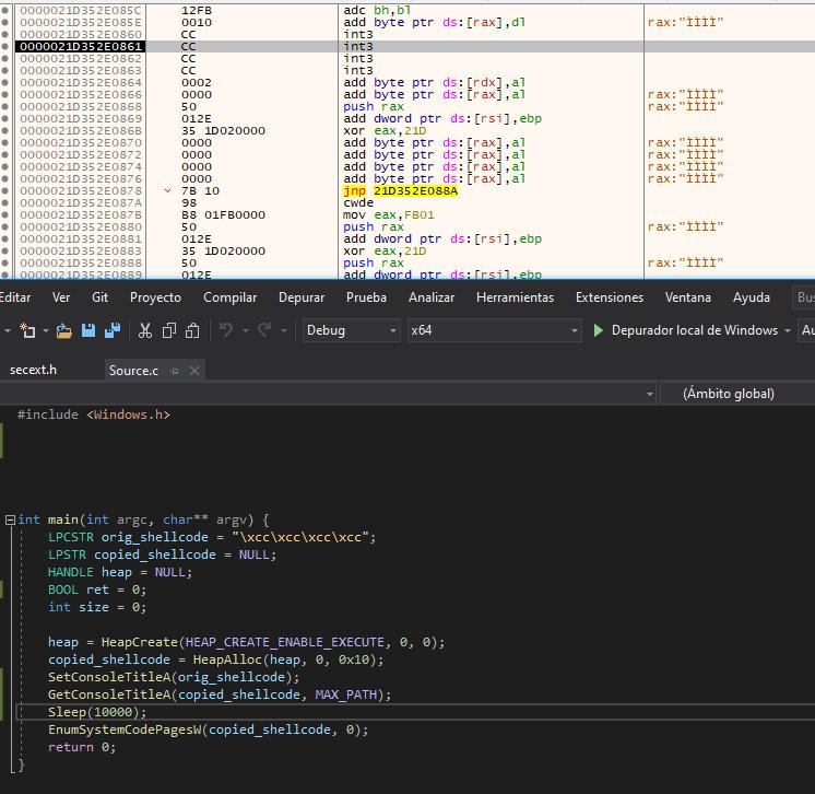 Shellcode copied using a Set/Get pair