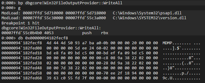 dbgcore.dll!Win32FileOutputProvider::WriteAll buffer at rdx